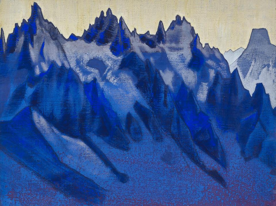 Nikolai Konstantinovich Roerich (1874-1947) 'Mountains for painting 'Shambhala', 1928-29 32 x 41.8cm (12 5/8 x 16 3/8in).