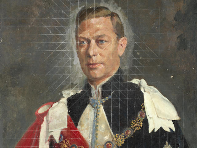 Sir Gerald Festus Kelly RA, KCVO, PRA (British, 1879-1972) King George VI, bust length portrait study unframed