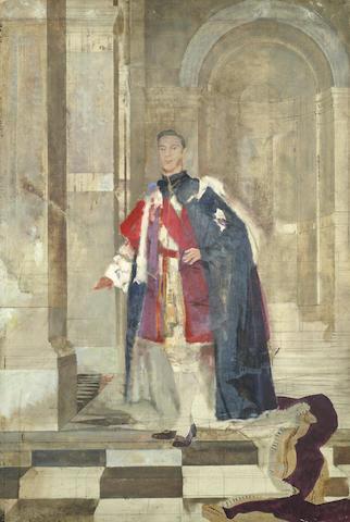 Sir Gerald Festus Kelly RA, KCVO, PRA (British, 1879-1972) King George VI, full length portrait study  unframed