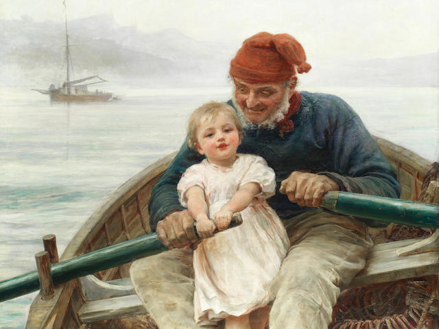 Frederick Morgan, ROI (British, 1847-1927) Rowing with Grandpa