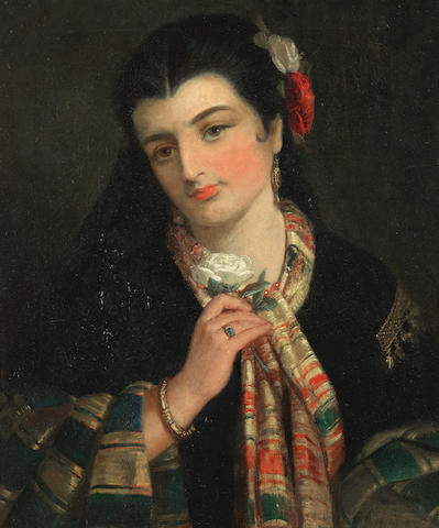 Robert Kemm (British, 1837-1895) Portrait of a Spanish lady