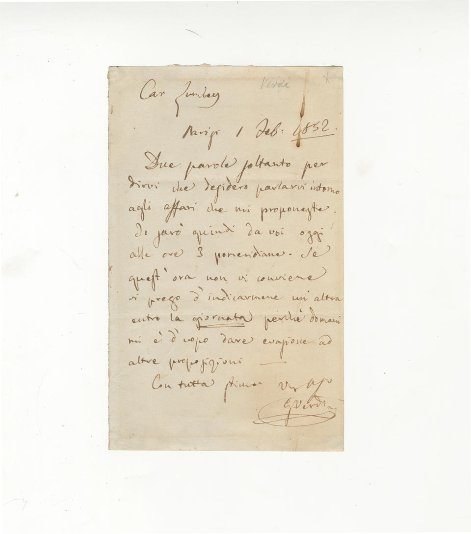 """MUSIC VERDI (GIUSEPPE) Autograph letter signed (""""G. Verdi""""), to the opera manager Benjamin Lumley (""""Caro Lumley""""), making arrangements to meet, Paris, 1 February, docketed in another hand 1852"""