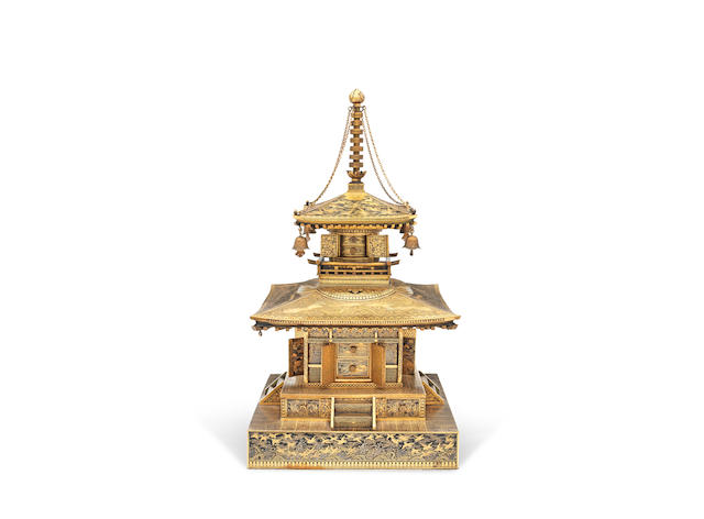 An inlaid iron cabinet modelled as a shrine   Attributed to the Komai Company of Kyoto, Meiji era (1868-1912), late 19th/early 20th century