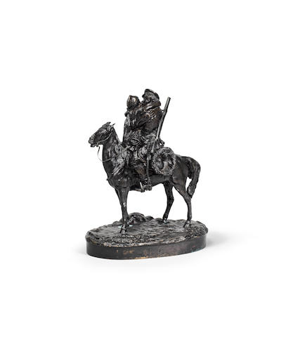 A bronze group of a couple on horsebackcast by C.F. Woerffel after an 1877 model by Vasily Grachev (1831-1905)