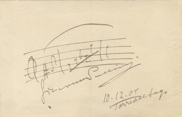 "MUSIC PUCCINI (GIACOMO) Autograph musical quotation signed (""Giacomo Puccini""), of the phrase 'Mi chiamano Mimi', three bars on a single stave, Torre de Lago, 10 December 1905"