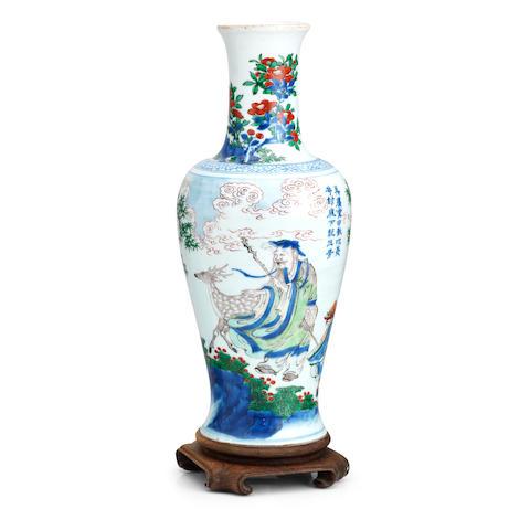 A wucai baluster vase Shunzhi period (2)