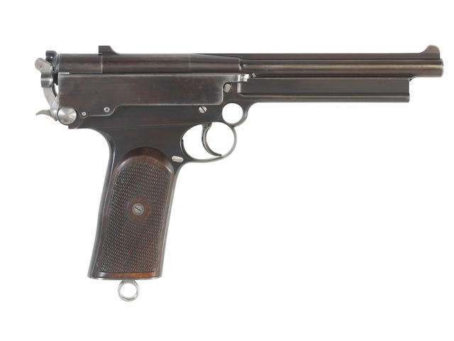 A very rare 9mm (Mars) self-loading pistol by Mars, retailed by Charles Lancaster, no. 37T  With original magazine