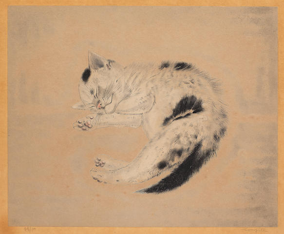 Léonard Tsuguharu Foujita (1886-1968) Sleeping Cat, from Les Chats Etching and aquatint printed in colours, circa 1930, on Chine appliqué to japan support sheet, signed and numbered 79/100 in pencil, published by Les Editions Artistiques Apollo, Paris, with wide margins, laid down, some pale foxing, otherwise in good condition, framedPlate 315 x 380mm. (12 3/8 x 15in.); Sheet 436 x 508mm. (17 1/4 x 20in.)