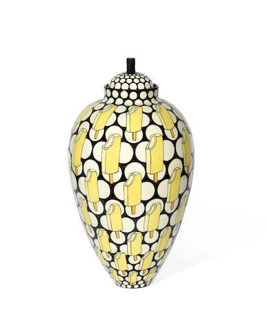 Kitty Shepherd (British, born 1960) 'Large Iconic Mivvi Jar': A Large Slipware Vase and Cover, executed 2019