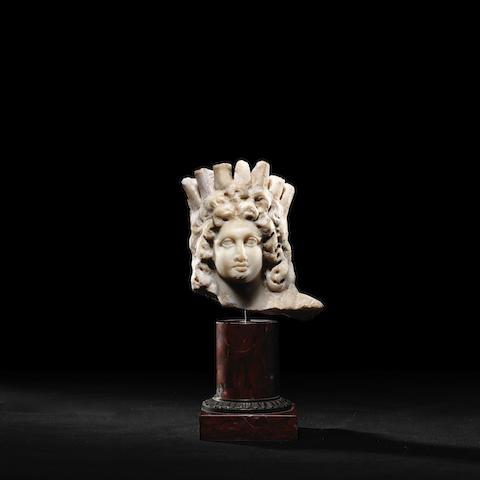 A Greek marble head of Alexander-Helios