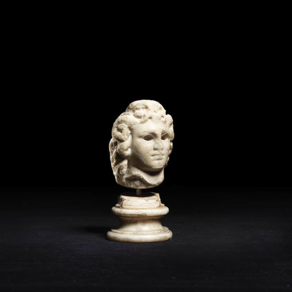 A Greek marble head of Alexander the Great as Zeus-Ammon
