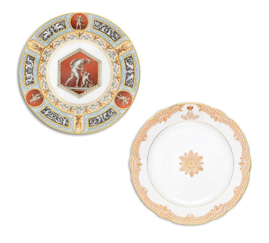 A porcelain dinner plate from The Raphael ServiceImperial Porcelain Manufactory, period of Nicholas II, dated 1897