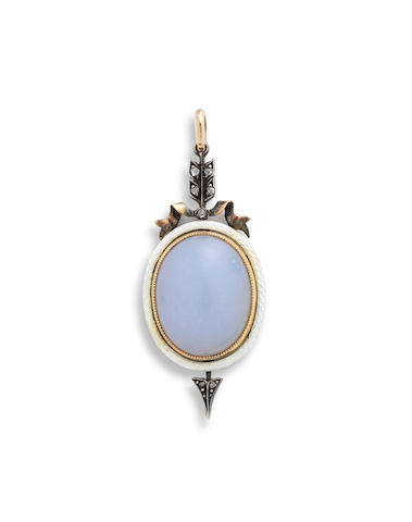 A Russian gold, enamel and moonstone pendantc. 1910, apparently unmarked