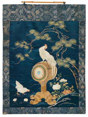 A fine silk embroidery of a rooster Meiji era
