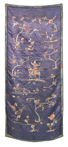 An embroidered silk-embroidered hanging 19th century
