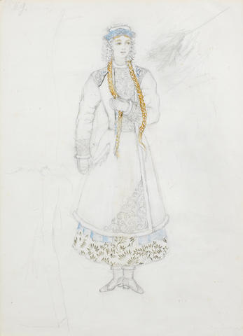 Natalia Sergeevna Goncharova (Russian, 1881-1962) Costume study for a maiden in winter costume
