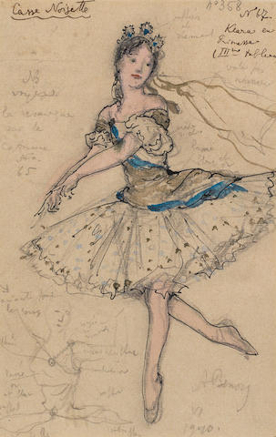 Alexandre Benois (Russian/French, 1870-1960) A costume study for Clara, as Princess in Tchaikovsky's ballet The Nutcracker