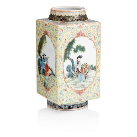 A famille rose vase, cong Qianlong seal mark but Republic period