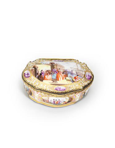 A Meissen style gilt metal mounted snuff box Second half 19th century