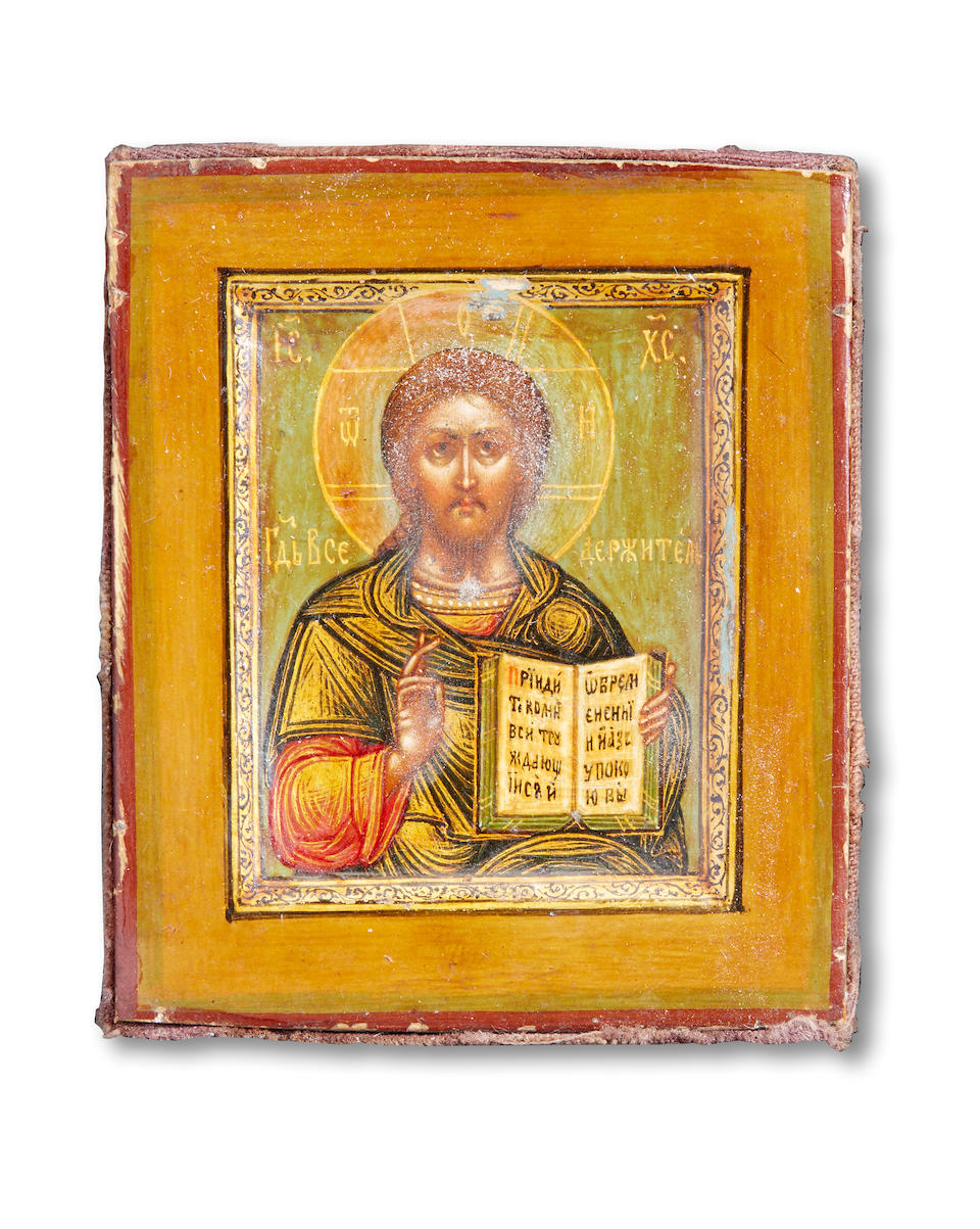 A silver and enamel icon of Christ PantocratorFabergé under Imperial Warrant, Moscow, before 1898, with scratched inventory number '11875'