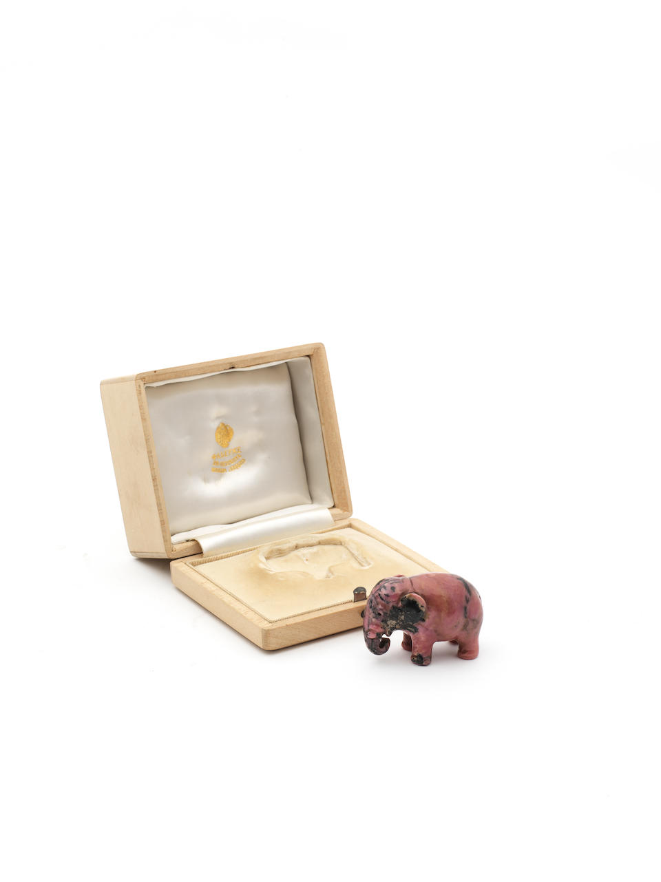 A Rhodonite figure of an elephantattributed to Fabergé, c. 1900
