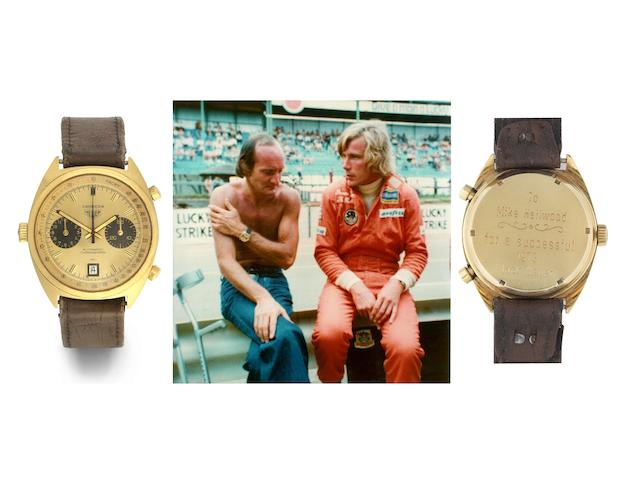 Heuer. A fine and rare 18K gold automatic calendar chronograph wristwatch presented to Mike Hailwood,
