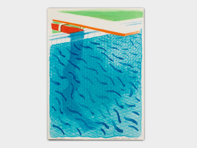 David Hockney (born 1937) Pool Made with Paper and Blue Ink for Book Lithograph in colours, 1980, on Arches wove paper, signed, dated and numbered 529/1000 in pencil, published by Tyler Graphics Ltd., Mount Kisco, New York, with their blindstamp, the full sheet, in very good condition, framedSheet 265 x 228mm. (10 5/8 x 9in.)