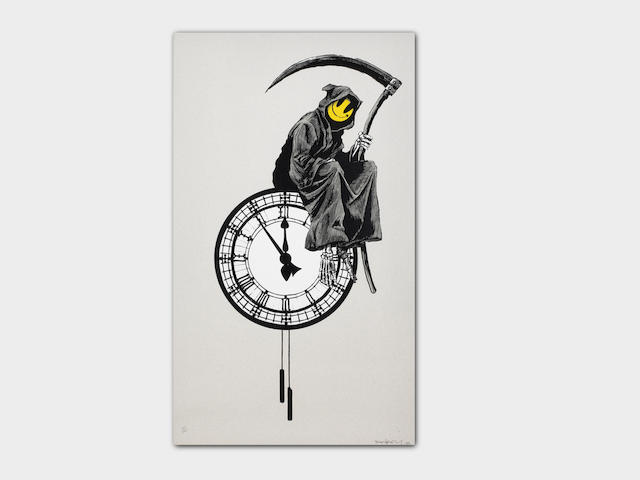 Banksy (born 1975) Grin Reaper Screenprint in colours, 2005, on wove paper, signed, dated and numbered 123/300 in pencil, published by Pictures on Walls, London, with their blindstamp, the full sheet printed to the edges, in very good condition, framedSheet 699 x 437mm. (27 1/2 x 17 1/4in.)