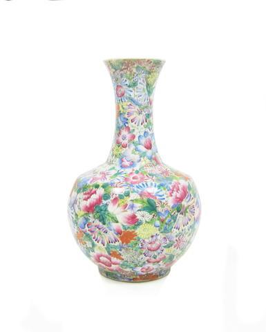 A famille rose 'millefiori' vase Qianlong printed seal mark, 20th century
