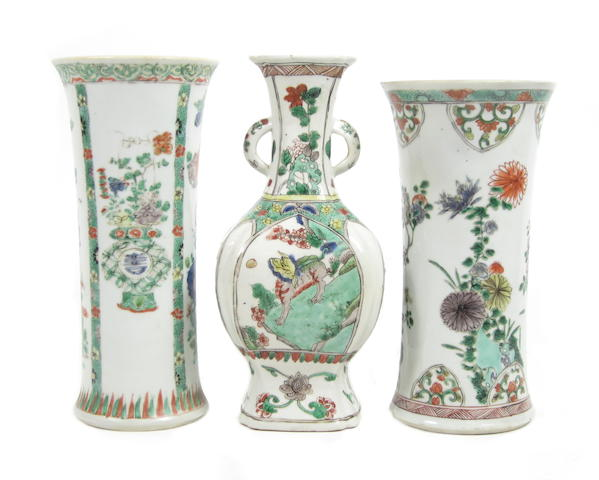 Three famille verte vases 18th century (3)