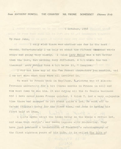 """POWELL (ANTHONY) Series of over sixty typed and autograph letters signed (""""Tony""""), plus over sixty cards (mostly picture postcards depicting subjects of varying degrees of drollness); the letters charting the progress of each of the twelve novels of his Dance to the Music of Time sequence, 1950-1974"""