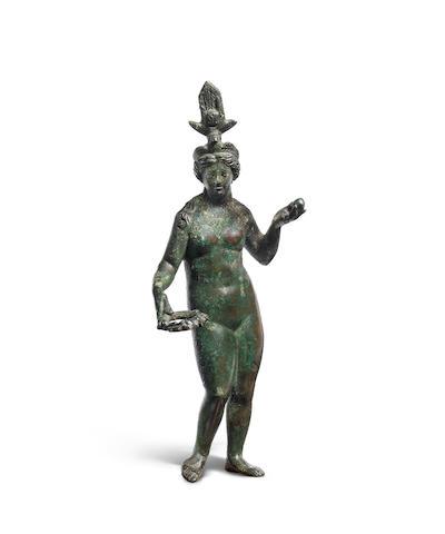 A Romano-Egyptian bronze figure of Isis-Aphrodite