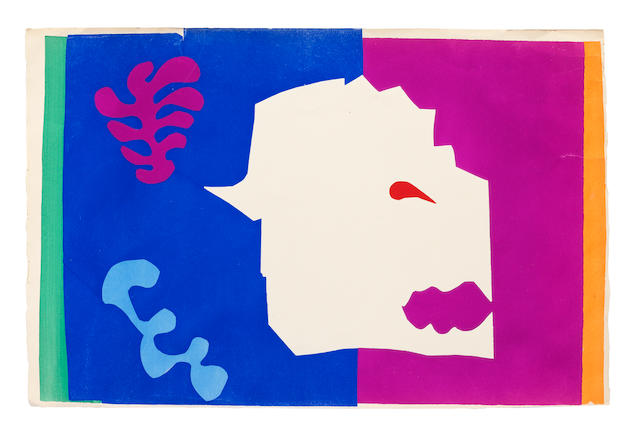 Henri Matisse (1869-1954) Le Loup and Formes, from Jazz Two pochoirs in colours, 1947, on Arches wove paper, proofs without the central vertical fold, aside from the edition of 100, published by Tériade Éditeur, Paris, the full sheets with deckle edges at left and right, the colours strong and vibrant, with pale time staining, handling creases, generally in good conditionSheets 420 x 652mm. (16 1/2 x 25 5/8in.)(2)