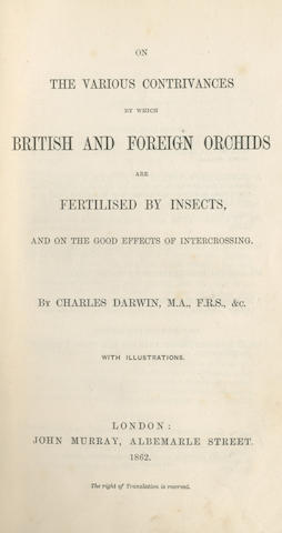 DARWIN (CHARLES) On the Various Contrivances by which British and Foreign Orchids are Fertilised by Insects, FIRST EDITION, John Murray, 1862