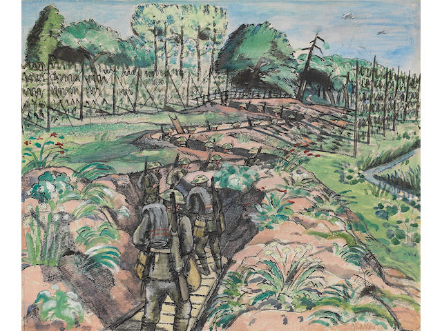 Paul Nash (British, 1889-1946) Leaving the Trenches 20.5 x 24.7 cm. (8 x 9 3/4 in.) (Executed in 1917)