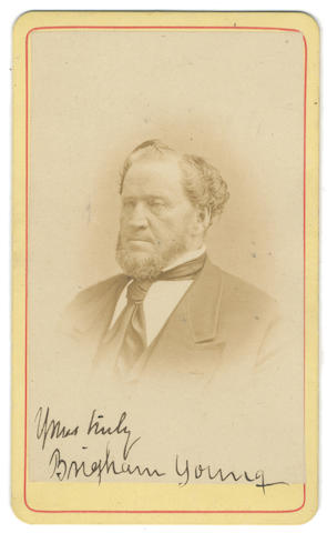 """YOUNG (BRIGHAM) Photograph signed and subscribed (""""Yours truly/ Brigham Young"""")"""