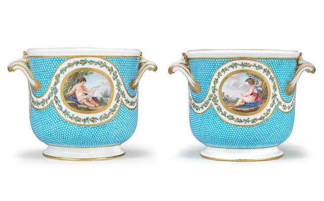 A pair of Sèvres bottle coolers from a service for Madame du Barry, circa 1770