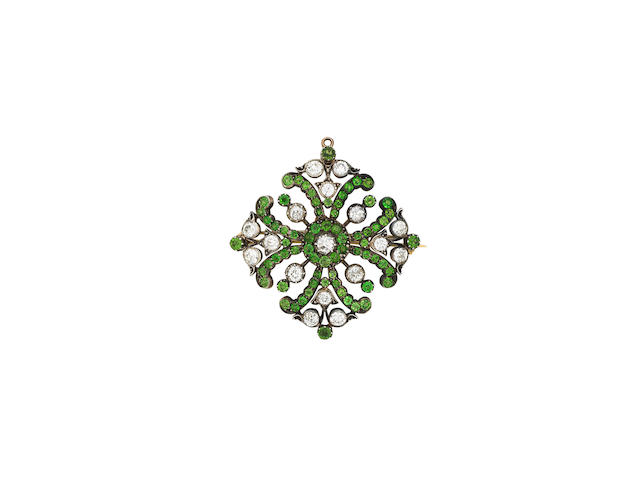 A demantoid garnet and diamond brooch/pendant