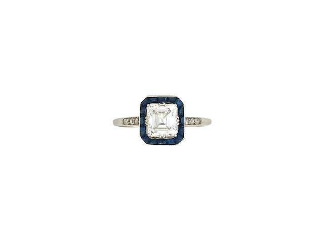 A diamond and sapphire ring, Art Deco style