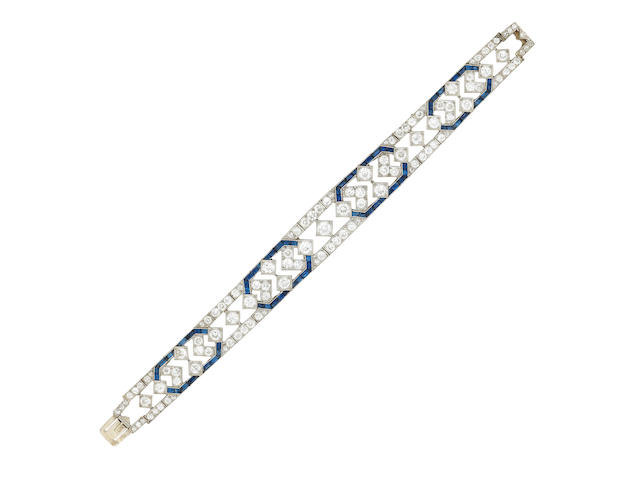 A sapphire and diamond bracelet, Art Deco