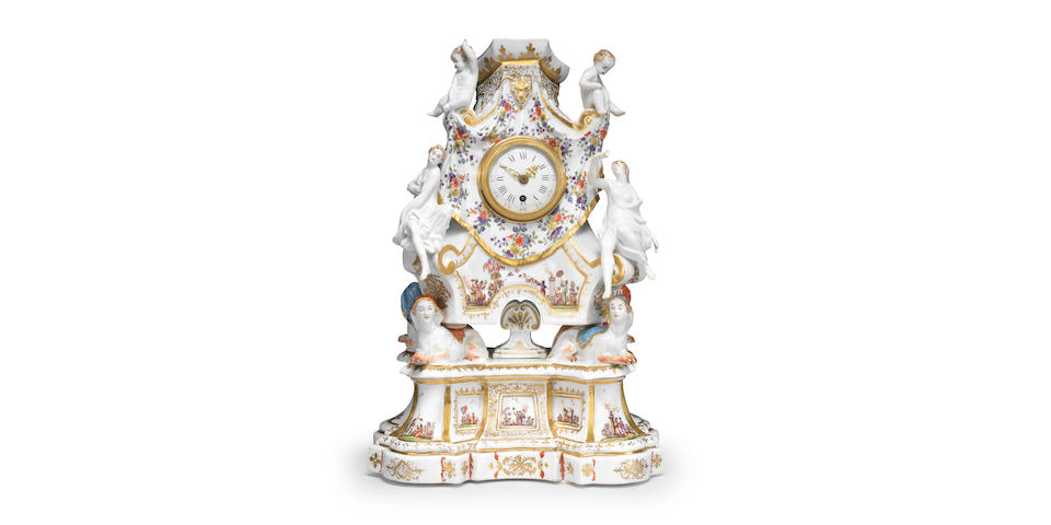 A very rare Meissen figural clock case and stand, circa 1730