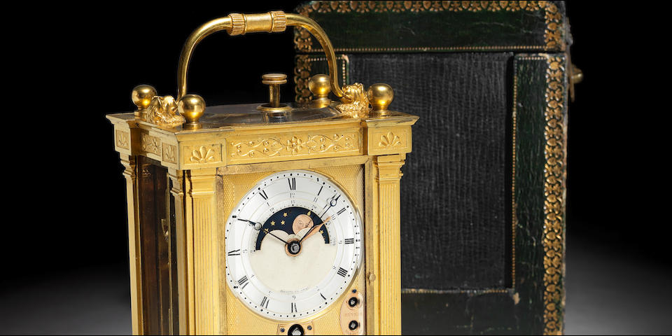 The second Carriage Clock ever made. The Francois de Bourbon, King of Naples Breguet. An exceptionally fine and rare ormolu, quarter repeating astronomical carriage clock timepiece with full annual calendar, moonphase and alarm. With certificate number 2889. Breguet et Fils, No. 179