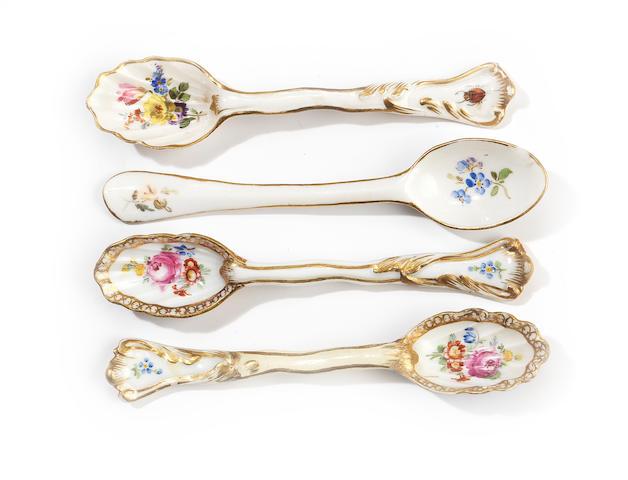 Four Meissen teaspoons