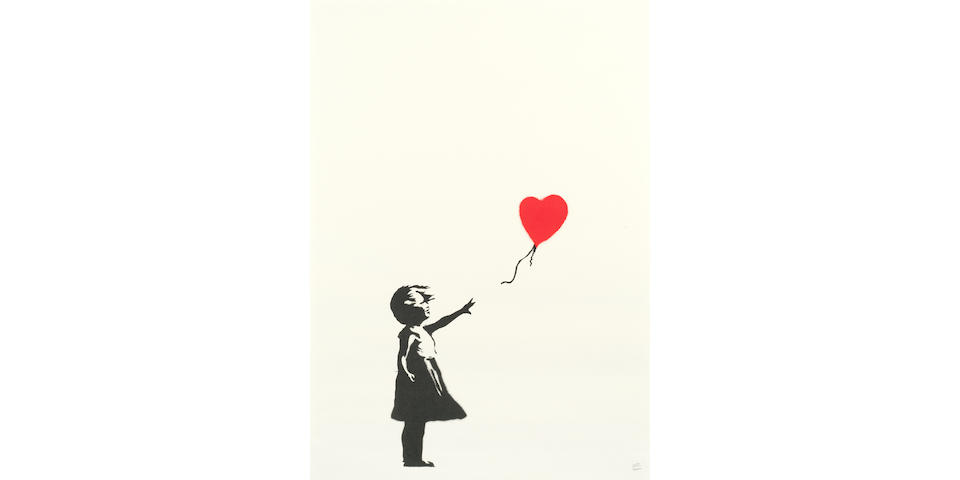 Banksy (British, b. 1975) Girl with Balloon Screenprint in black and red, 2004, on wove, numbered 409/600 in pencil, published by Pictures on Walls, London, with their blindstamp, the full sheet, 700 x 500mm (27 5/8 x 19 5/8in)(SH)
