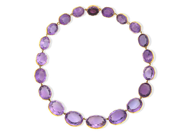 A graduated amethyst rivière necklace, late 19th century
