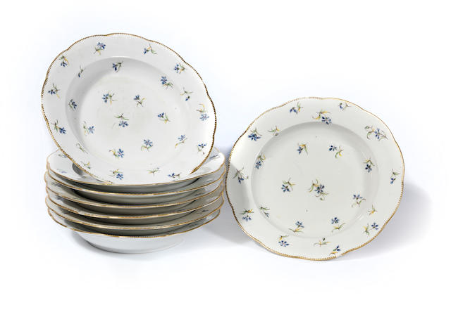 Eight Sèvres soup plates Late 18th Century
