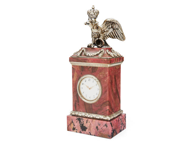 A rare silver-gilt mounted rhodonite mantel clockFabergé, First Silver Artel, former workshop of Julius Rappoport,  St. Petersburg, 1910-1917, scratched inventory number '22107'