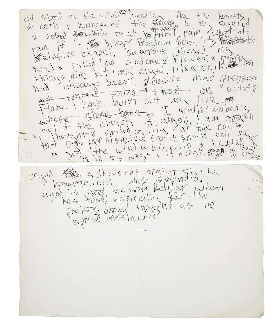 Marc Bolan/T.Rex: A collection of handwritten recording notes, original drawings, poems and related memorabilia, 1970's, Qty