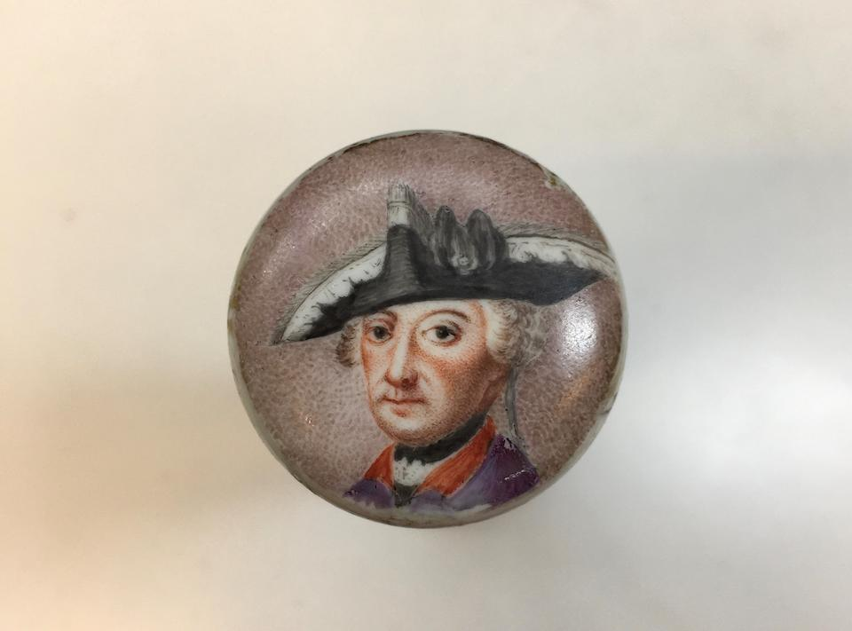 A German porcelain cane handle depicting Frederick the Great Possibly Berlin, circa 1770
