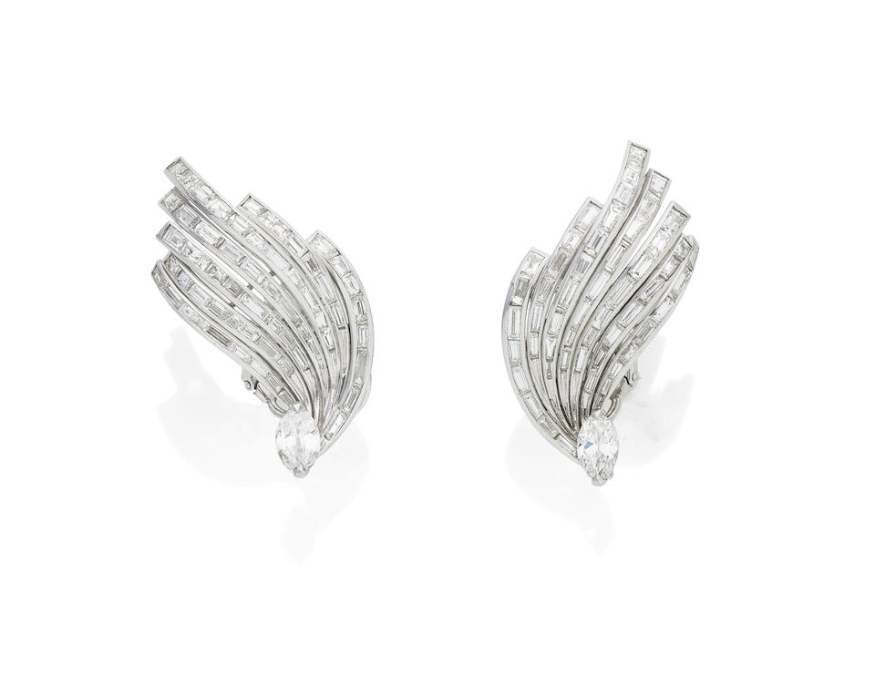 A pair of natural pearl and diamond earclips, by Sterlé,